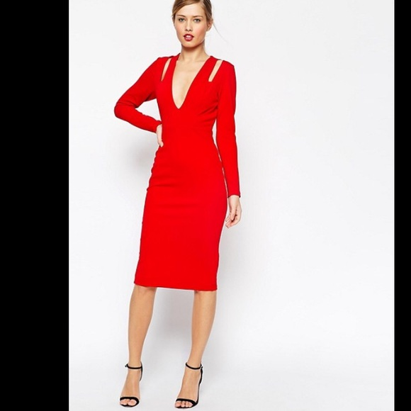 26f8132f8d412e ASOS Dresses & Skirts - ASOS Textured Plunge Long Sleeve Dress w/ Cut Outs